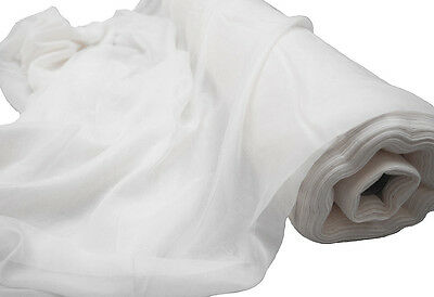 White Voile Fabric Fire Retardant 1.5M Width Sold Per Roll 28M To 71M Swagging