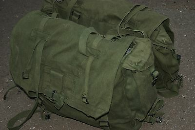 Post Ww2 Pair Army Motorcycle Panniers Military Heavy Duty Canvas Green Bike Gr