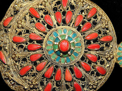 Antique Ottoman Belt Buckle Coral Filigree