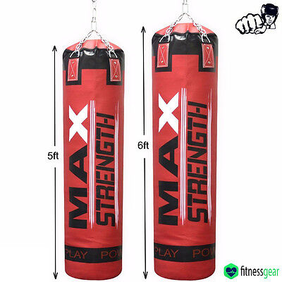Unfilled 5ft / 6ft Boxing Punch Bag Kick Fight Training MMA Martial Arts