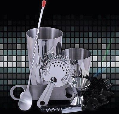 13 Set Bar Professional Cocktail Drinks Shaker Kit Bartender Steel Mixing Tools