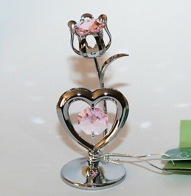 Crystocraft TULIP + HEART Chrome Ornament with Strass Swarovski Crystal Element