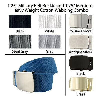 "1.25"" Canvas Military Web Belt, 43 Colors, 6 Finishes and 12 Sizes to Pick From"