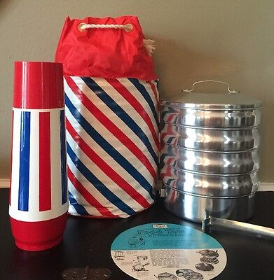 Vintage Regal Ware Food Tote Picnic Aluminum Stacked Carrier + Thermos