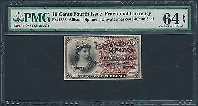 FR1258 10¢ 4TH ISSUE FRACTIONAL UNWATERMARKED 40 mm SEAL PMG 64 EPQ CU BT3412