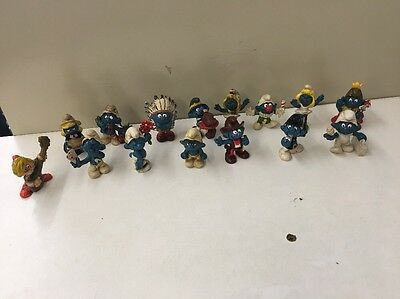 Lot Of 15 Vintage Smurf Figurines