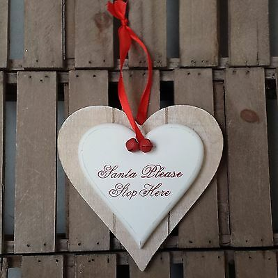 Santa Please Stop Here wooden double heart on ribbon with bells wall plaque