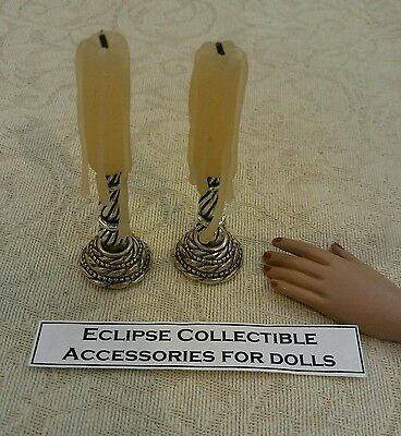 Halloween Gothic Pair of Faux Candlesticks  For Your 16 inch Fashion Doll Witch