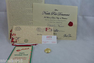 Babies 1st Letter From Santa Personalized Nice Certifacate & Santa's Coat Button