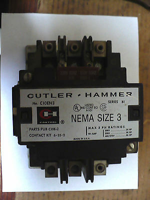 1 pc Cutler-Hammer C10EN3 Contactor, Series B1, 90 Amp, 120V Coil, Used