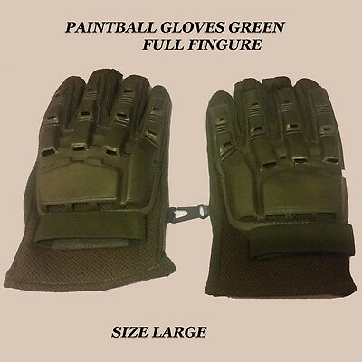Paintball Gloves FULL Finger Airsoft Protective Tactical Shooting GREEN, Armored