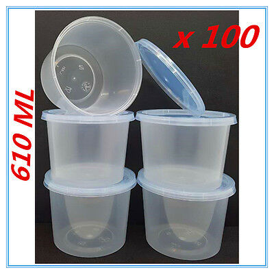 100 X Plastic Take Away Round Food Safe Container Containers 610Ml Bpa Free Ap