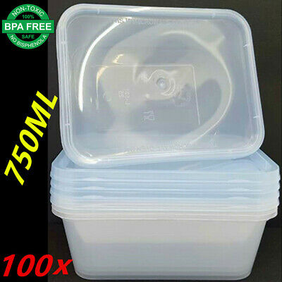 100X Plastic Take Away Rectangle Food Safe Container Containers 750Ml Bpa Free F