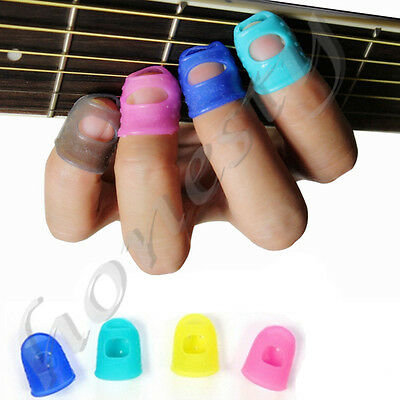 4X Guitar Thumb Bass Fingertip Finger Picks Protectors Plectrum Band Protection