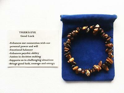 Tiger's Eye Bracelet Gemstone Crystal Chip Beads Stretch 'BUY 3 GET 1 FREE'