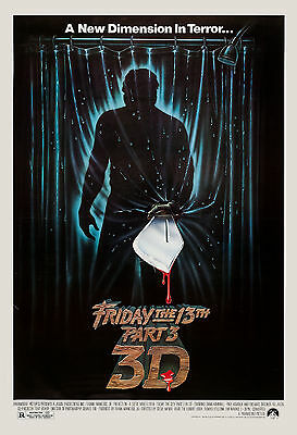 Horror: Friday the 13th  Part 3 3D USA Movie Poster 1982 Large Format 24x36