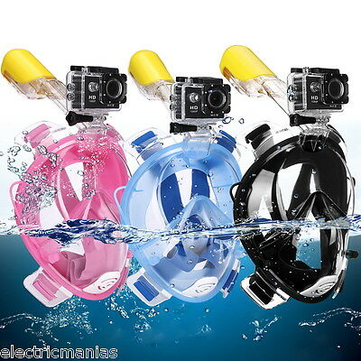 AU STOCK! FullFace Snorkeling Snorkel Mask Diving Goggle Breather Pipe For GoPro