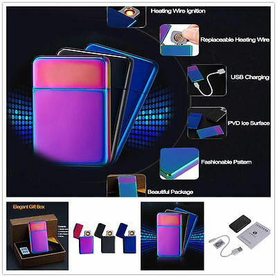 Windproof USB Electronic Rechargeable Flameless Cigar Cigarette Tungsten Lighter