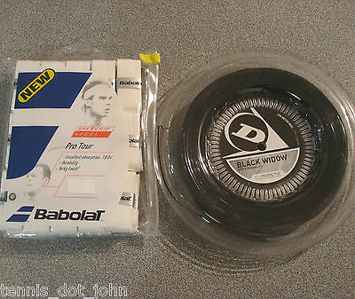 Dunlop Black Widow 16g  200m String Reel & Babolat Pro Tour 30 Pack overgrips