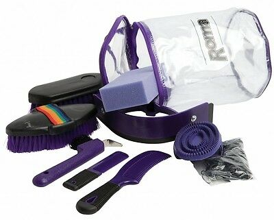 Roma Cylinder Grooming Kit 9 Pieces Horse & Pony Grooming ALL COLOURS
