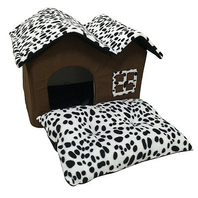 Indoor Dog House Bed Double Room Dog Kennel Pet Puppy Cat Nest Soft Warm