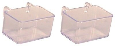 Set of Transparent Hanging Bird Cage Bowls for Food & Water 2 x 50ml
