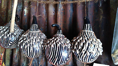 Africa Kenya Kamba Tribe Painted Calabash Gourd and Shell