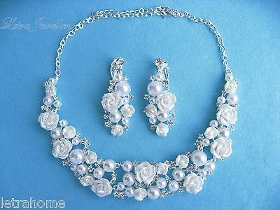 White Shell Pearl Silver Rose Adjustable Necklace Clip on Earrings Sets Bride