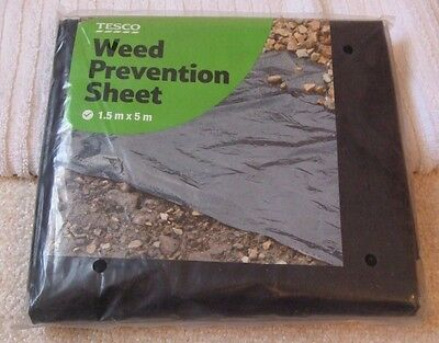 WEED PREVENTION SHEET - 1.5m x 5m - BRAND NEW - IN BLACK - MADE by TESCO