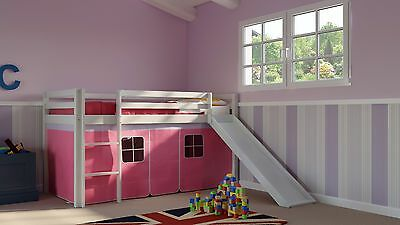 Cabin Bed Mid Sleeper Kids 3ft Single Bed with Slide Ladder Pink White