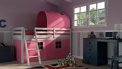Cabin Bed Mid Sleeper Kids Bed 3ft Single with Ladder Pink White Girls Bedroom