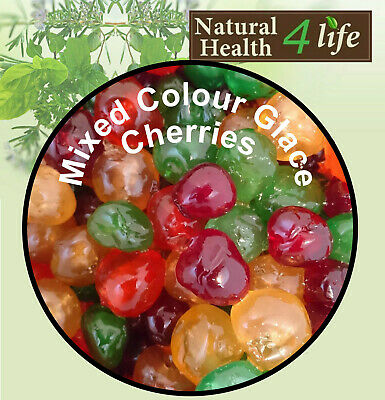 Mixed 4 different Coloured Glace Cherries 100g. Ideal for Cake Decorating/Baking
