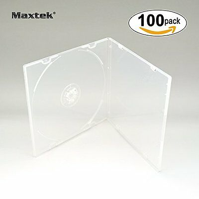 Maxtek 5.2mm Slim Single Clear PP Poly Plastic Cases with Outer Sleeve, 100