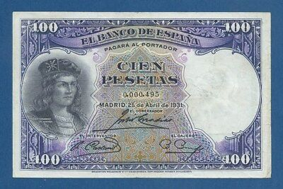 España // Spain -- Low # : 0000495 -- 100 Pesetas ( 1931 ) -- Mbc -- Pick 83 .