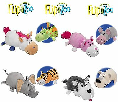 Vivid Imaginations Flip a Zoo 2-In-1 Reversible Cuddly Soft Plush Toys-FREE SHIP