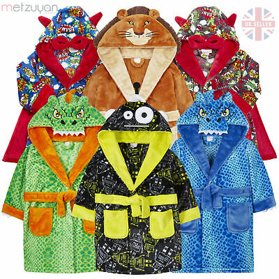Toddler Childrens Boys Novelty Comic Book Dressing Gown Robe King Lion Dragon
