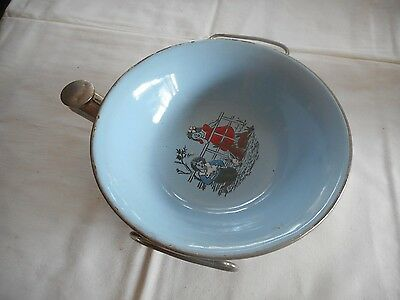 Vintage Excello Blue Porcelain Feeding Dish Bowl Metal Warmers Baby Plate