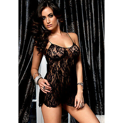 Babydoll Rose Lace Flair Nero Taglia Unica, Baby Dolls - Sensual XXX