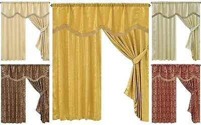 Luxurious Diana Heavy Jacquard Fully Lined Ready Made Ring Top Curtains