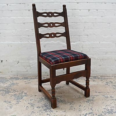 6 Antique rustic farmhouse high back upholstered dining chairs in tartan wool