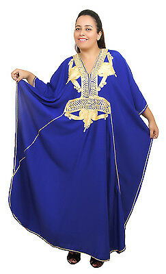 Plus size Caftan Moroccan Handmade Kaftan Women Beach Summer Dress Abaya Blue