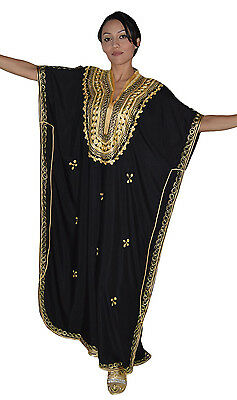 Moroccan Caftan Women kaftan Abaya Beach Cover Summer Long Dress Cotton Black