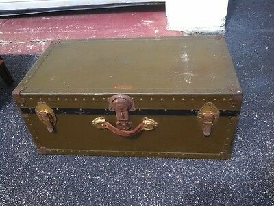 Antique Vintage Old Metal Military Trunk