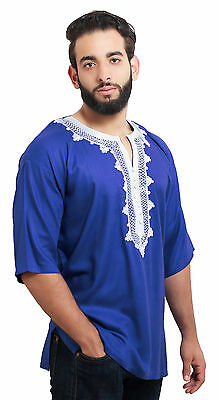 Moroccan Men Tunic Shirt Cafan Casual Handmade Embroidered Cotton Large Blue