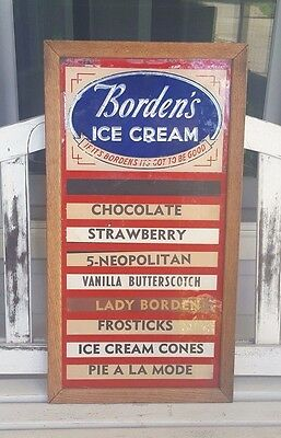 Vintage Borden's Ice Cream Store Parlor Menu Sign Flavor Board Clean