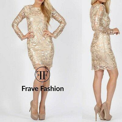 New Women's Nude Mesh and Gold Floral Sequin Embellished Party Dress