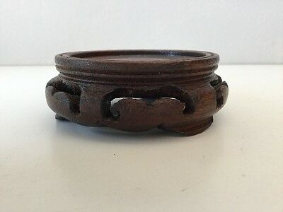 Vintage Asian Carved Wooden Wood Stand Fruitwood Finish