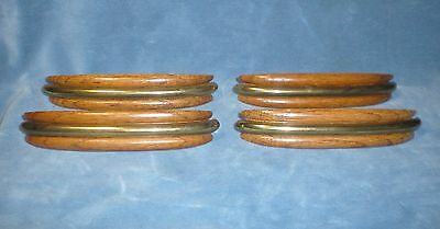 "Vintage Drawer Cabinet Handles Pulls Wood & Brass 3 1/2"" Center 5 1/2""L"