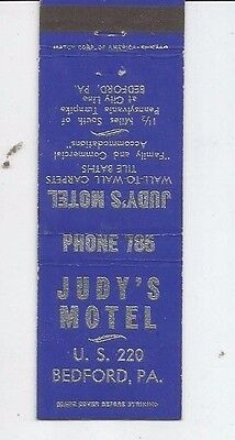 MATCHBOOK COVER Judy's Motel Bedford Pennsylvania