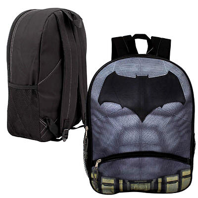 "Backpack 16"" BATMAN LOGO Muscle DC Comics Kids Boys School Large Book Bag NEw"